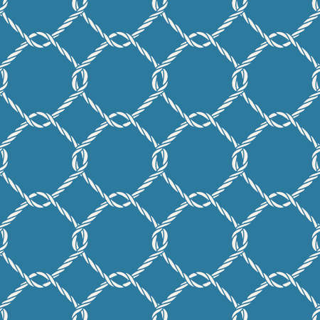 fishing net: Seamless nautical rope knot pattern. Endless navy illustration with white fishing net ornament and twisted cord on blue backdrop. Trendy maritime style background. For fabric, wallpaper, wrapping. Illustration
