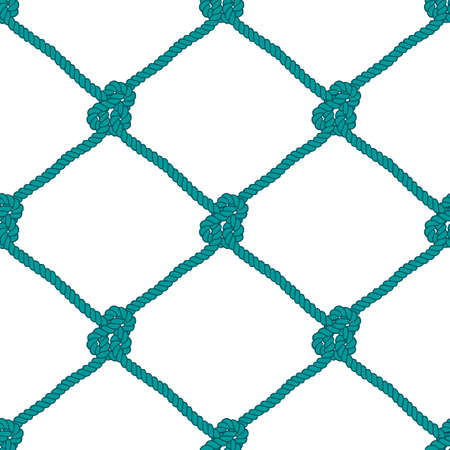 fishing net: Seamless nautical rope knot pattern. Endless navy illustration with green fishing net ornament and marine knots on white backdrop. Trendy maritime style background. For fabric, wallpaper, wrapping.