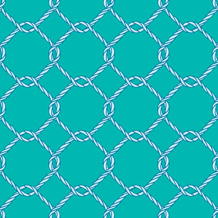 fishing net: Seamless nautical rope knot pattern. Endless navy illustration with blue fishing net ornament and twisted cord on green backdrop. Trendy maritime style background. For fabric, wallpaper, wrapping.