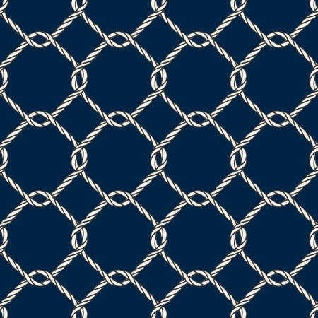fishnet: Seamless nautical rope knot pattern. Endless navy illustration with white fishing net ornament and twisted cord on dark blue backdrop. Trendy maritime style background. For fabric, wallpaper, wrapping