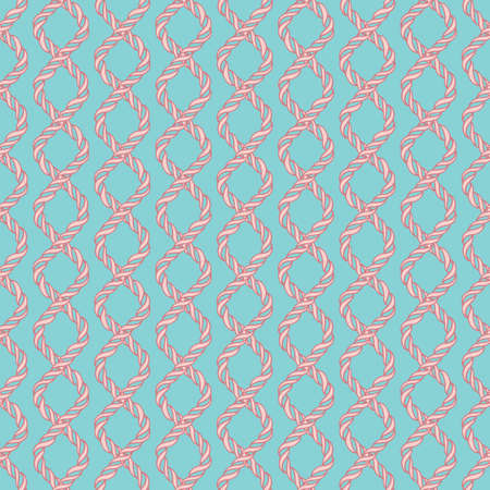 spiral cord: Decorative spiral rope seamless pattern. Endless illustration with red twisted cord ornament on blue backdrop, ornamental crossing ribbon. Trendy background. For fabric, wallpaper, wrapping.