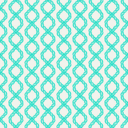 spiral cord: Decorative spiral rope seamless pattern. Endless illustration with green twisted cord ornament on white backdrop, ornamental crossing ribbon. Trendy background. For fabric, wallpaper, wrapping.