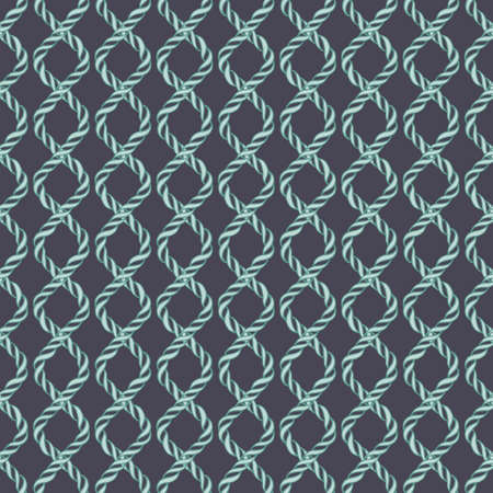 spiral cord: Decorative spiral rope seamless pattern. Endless illustration with green twisted cord ornament on dark backdrop, ornamental crossing ribbon. Trendy background. For fabric, wallpaper, wrapping.