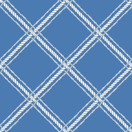Nautical crossed rope seamless pattern. Endless navy illustration with white fishing net ornament and crossing cord on blue backdrop. Trendy maritime style background. For fabric, wallpaper, wrapping