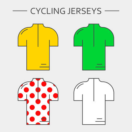 Types of cycling jerseys. Four linear simple icons of main jerseys of cycling championship. Yellow, green, white and red polka dot pullovers isolated on light grey background. Vettoriali