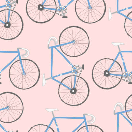 Decorative seamless pattern with racing bikes. Endless trendy ornament with hand drawn bicycles. Stylish backdrop with blue cycles on pink background. For fabric design, wallpaper, wrapping