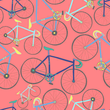 cycles: Decorative seamless pattern with racing bikes. Endless trendy ornament with hand drawn bicycles. Stylish backdrop with colorful cycles on red background. For fabric design, wallpaper, wrapping