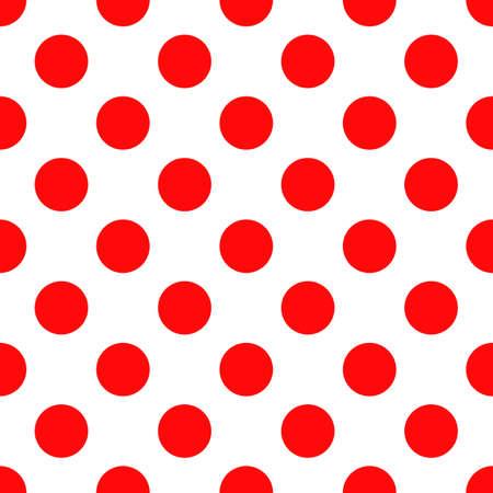 Patrón de lunares sin costuras. Textura de moda estilo vintage para telón de fondo. Interminables formas clásicas rojas sobre fondo blanco. Perfecto para el diseño de telas, papel tapiz, envoltura