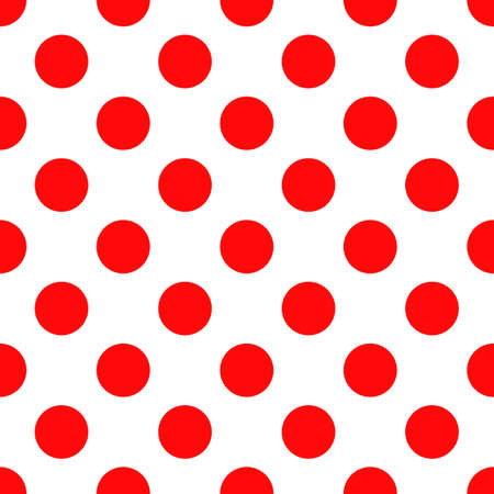 Seamless polka dot pattern. Trendy vintage style texture for backdrop. Endless classic red shapes on white background. Perfect for fabric design, wallpaper, wrapping Ilustração