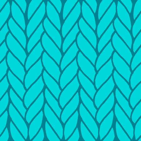 Decorative knitting braids seamless pattern. Endless hand drawn green stylized sweater fabric. Trendy stylish texture with rough edges. Perfect for fabric design, wallpaper, wrapping, backdrops