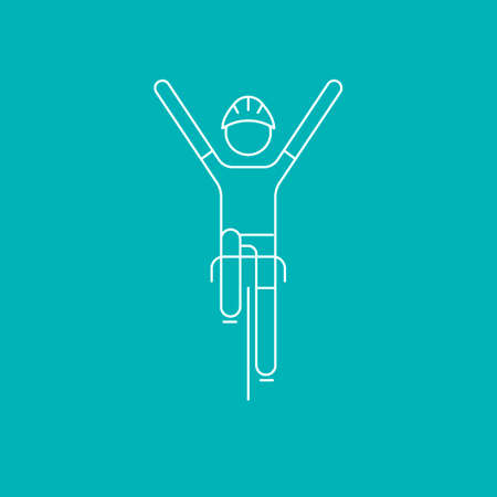 race winner: Modern Illustration of cycling race winner. White outline front view cyclist isolated on blue background. For use as design element,  sticker. Bicycle racer made in trendy thin line style vector Illustration