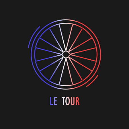 Modern Illustration of cycling race emblem. Outline wheel in French flag tricolor isolated on dark background. For use as design element,  , sticker. Symbol made in trendy thin line style vector.