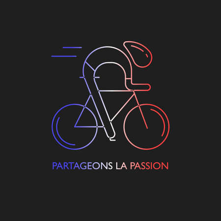racer flag: Modern Illustration of cyclist. Outline bicyclist in French flag tricolor isolated on dark background. For use as design element,  , sticker. Bicycle racer made in trendy thin line style vector.