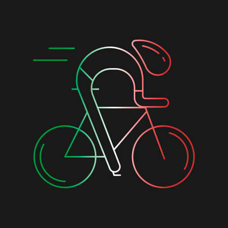 italia: Modern Illustration of cyclist. Outline bicyclist in Italy flag tricolor isolated on dark background. For use as design element, logo, sticker. Bicycle racer made in trendy thin line style vector.