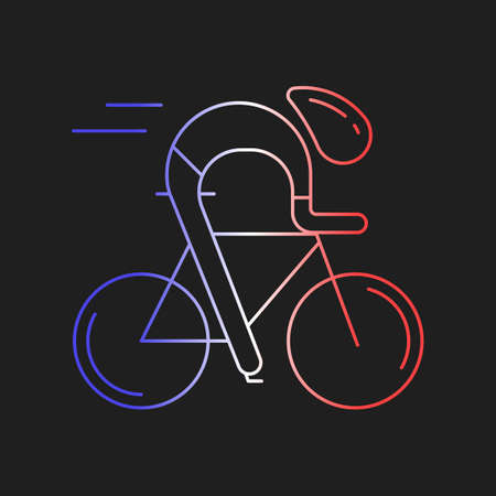 racer flag: Modern Illustration of cyclist. Outline bicyclist in French flag tricolor isolated on dark background. For use as design element, logo, sticker. Bicycle racer made in trendy thin line style vector.