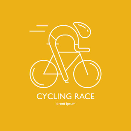 cycler: Modern Illustration of cyclist. White outline bicyclist isolated on yellow background. For use as design element,   or sticker. Bicycle racer made in trendy thin line style vector.