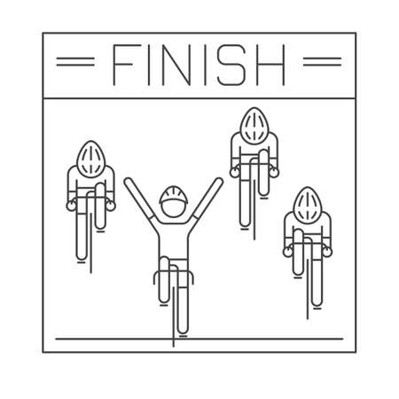 bicyclists: Modern Illustration of cyclists on finish line. Black outline bicyclists isolated on white background. For use as design element or sticker. Bicycle racers made in trendy thin line style vector.