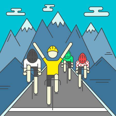 フィニッシュライン上のサイクリストの近代的なイラスト。岩山の背景にカラフルな明るいサイクリスト。デザイン要素やポスターとして使用しま