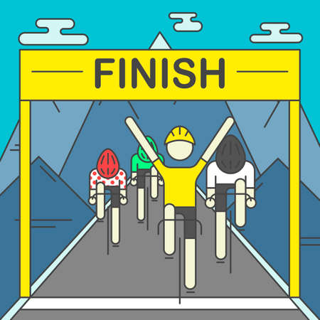 rocky mountains: Modern Illustration of cyclists on finish line. Colorful bright bicyclists on rocky mountains background. For use as design element or poster. Bicycle racers made in trendy flat style vector.
