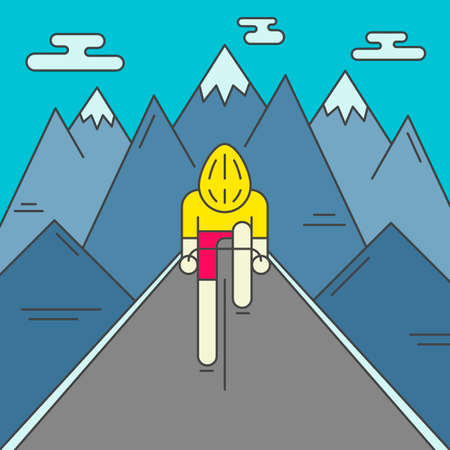 cycler: Modern Illustration of cyclist on the road. Colorful bright bicyclist in yellow jersey on mountains background. For use as design element or poster. Bicycle racer made in trendy flat style vector.