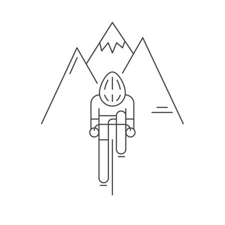rocky mountains: Modern Illustration of cyclist from front view. Black outline bicyclist on rocky mountains background. For use as design element, sticker or poster. Bicycle racer made in trendy thin line style vector