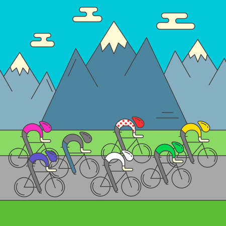rocky mountains: Modern Illustration of cyclists on the road. Colorful bright bicyclists on rocky mountains background. For use as design element or poster. Bicycle racers made in trendy flat style vector.
