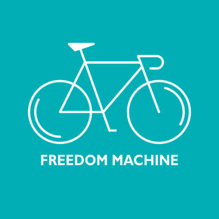 velocipede: Modern Illustration of linear bicycle. White outline bike and text Freedom Machine isolated on a green background. For use as design element, poster,  . Cycle made in trendy thin line style vector. Illustration