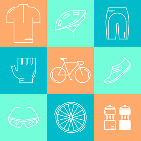 bicycling: Set of 9 Bicycle Race modern linear icons. White outline templates of cycling isolated on colorful background. Bicycling elements and accessories made in trendy thin line style vector.
