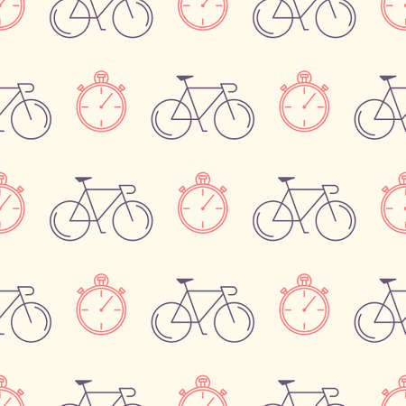 velocipede: Decorative seamless pattern with racing bikes and stopwatch. For fabric design, wallpaper, wrapping. Endless trendy ornament with elements made in trendy thin line style vector. Illustration