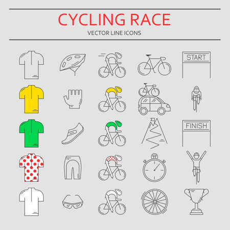 bicycling: Set of 25 Bicycle Race modern linear icons. Black outline templates of cycling competition isolated on grey. Bicycling championship elements made in trendy thin line style vector.