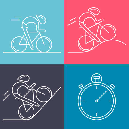 bicyclists: Set of 4 linear icons of cycling race stage types. White outline infographics templates isolated on colorful background. Bicyclists and stopwatch made in trendy thin line style vector.