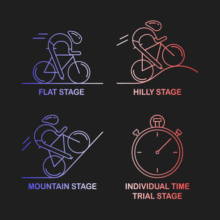 hilly: Set of 4 linear icons of cycling race stage types. Outline infographics templates in French flag tricolor isolated on dark background Bicyclists and stopwatch made in trendy thin line style vector. Illustration