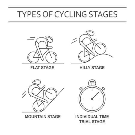 bicyclists: Set of 4 linear icons of cycling race stage types. Black outline infographics templates isolated on white background. Bicyclists and stopwatch made in trendy thin line style vector. Illustration