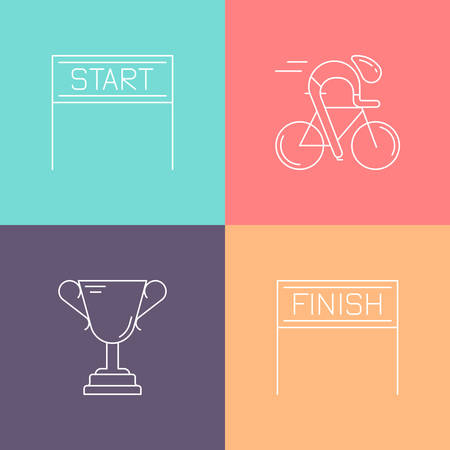 cycling race: Set of 4 cycling race linear icons. White outline templates isolated on colorful background. Bicycle championship elements made in trendy thin line style vector.