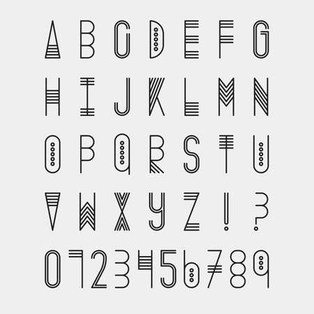 Original ethnic latin alphabet set. Linear uppercase modern font, typeface, english alphabet. Tribal black upper case and question and exclamation marks on white. Modern thin line style Vettoriali