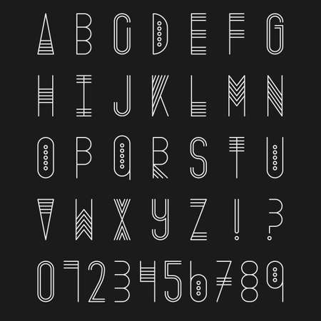 upper case: Original ethnic latin alphabet set. Linear uppercase modern font, typeface, english alphabet. Tribal white upper case and question and exclamation marks on black. Modern thin line style