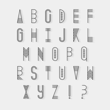 uppercase: Original ethnic latin alphabet set. Linear uppercase modern font, typeface, english alphabet with long shadow effect. Tribal upper case and question and exclamation marks.