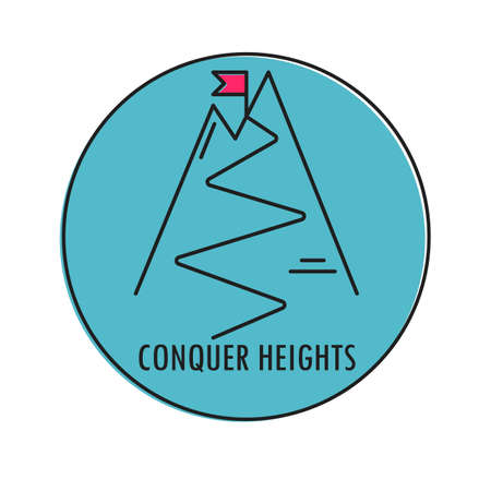 conquer: Modern Illustration of mountain with red flag on a peak. Conquer Heights. Icon in a blue circle isolated on a white background.