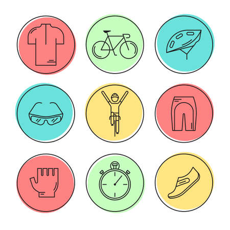 Set of 9 Bicycle Race modern linear icons. Black outline templates of cycling in colorful circles isolated on white.