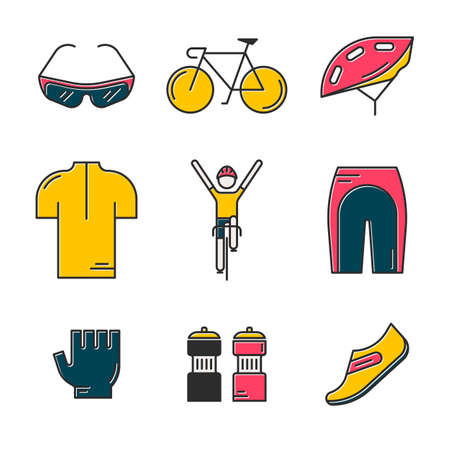 Set of 9 Bicycle Race modern colorful icons. Bright templates of cycling in isolated on white background. Bicycling elements and accessories made in trendy thin line style vector.