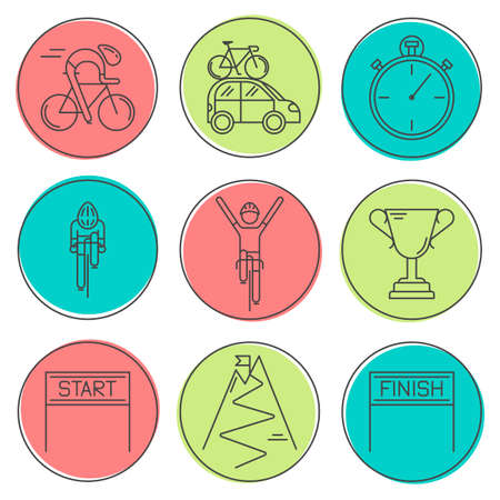 Set of 9 Bicycle Race modern linear icons. Black outline templates of cycling in colorful circles isolated on white