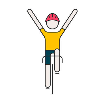 Modern Illustration of cyclist. Flat bicyclist in yellow jersey isolated on white background. Healthy lifestyle, or bicycle race   concept. Bicycle racer made in trendy thin line style vector.