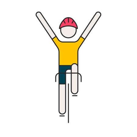Nowoczesna ilustracja rowerzysty. Płaski rowerzysta w żółtej koszulce na białym tle. Zdrowy styl życia lub koncepcja wyścigu rowerowego. Rowerzysta wykonany w modnym wektorze stylu cienka linia.