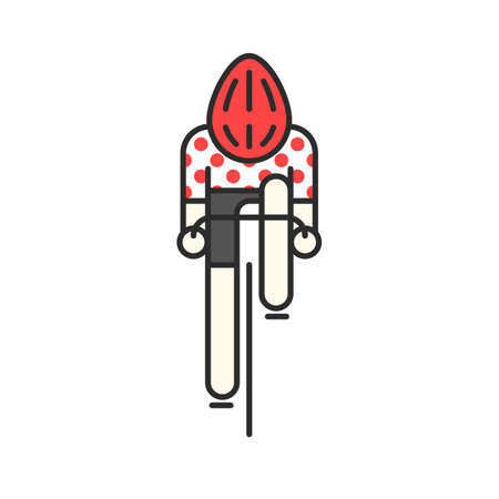Modern Illustration of cyclist. Flat bicyclist in red polka dot jersey isolated on white background. Cycling race   concept. Bicycle racer made in trendy thin line style vector.