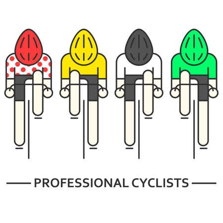 Moderne Illustratie van fietsers. Flat fietsers in geel, groen, wit en rode bolletjestrui geïsoleerd op wit. Fietsen, icoon concept. Wielrenners in trendy dunne lijn stijl vector Vector Illustratie