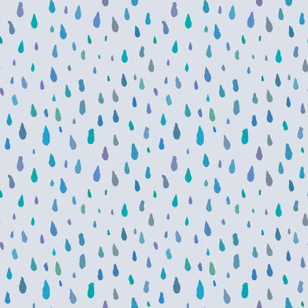 Cute decorative seamless pattern with raindrops. Hand drawn ink different sizes blue drops with rough edges on light grey background. Endless ornament for childish decoration, cloth or wrapping