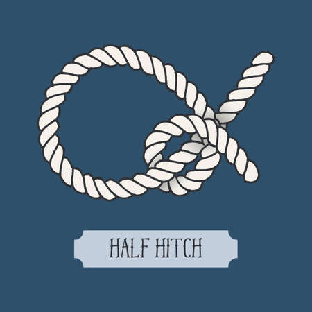 Single illustration of nautical Half Hitch Knot. Marine rope sign. Artistic hand drawn graphic design element for invitations, cards, Illustration