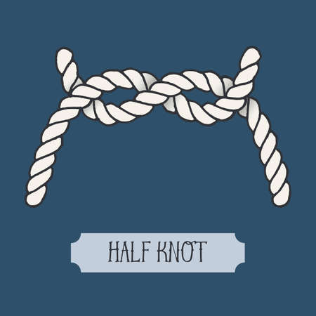 hand knot: Single illustration of nautical Half Knot. Marine rope sign. Artistic hand drawn graphic design element for invitations, cards, Illustration