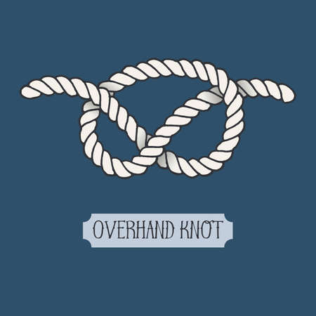 overhand: Single illustration of nautical Overhand Knot. Marine rope sign. Artistic hand drawn graphic design element for invitations, cards,