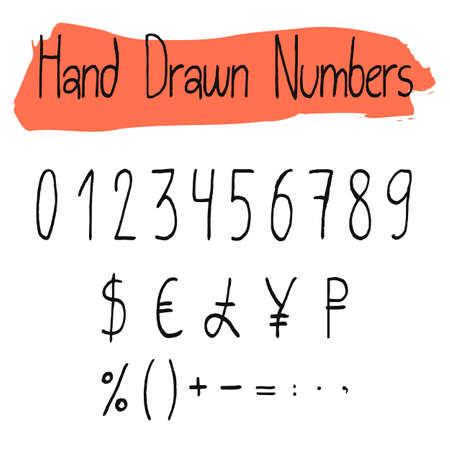 signos matematicos: números de vectores simples manuscritas de la serie. HANDDRAWN números delgadas, por ciento, moneda y signos matemáticos. símbolos negros formas, aislados sobre fondo blanco. Vectores